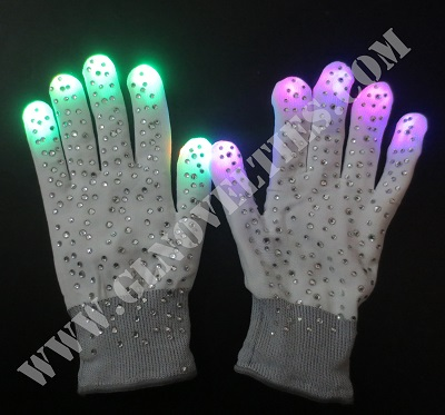 Flashing Rhinestone Gloves XY-541