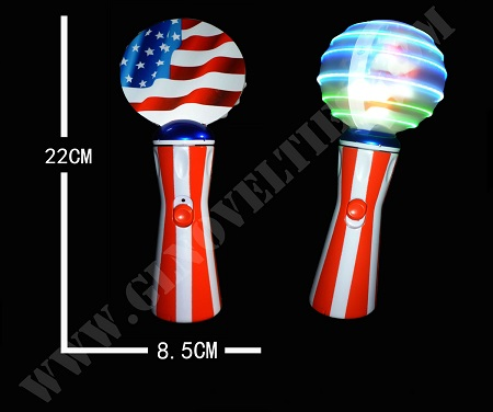 Light Up USA Flag Spinning Wand XY-3058